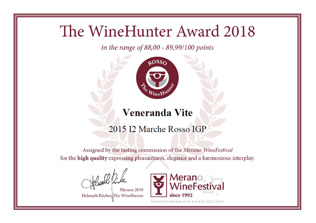 I2 2015 The WineHunter Award 2018